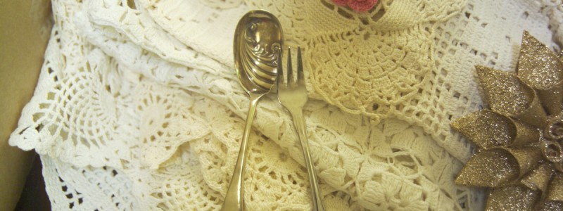 Spoon, fork & doilies
