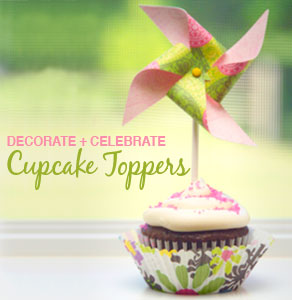 Pink and Green Birthday Cupcake Topper
