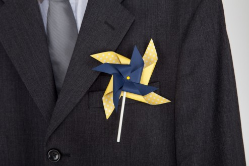 Adult Double Pinwheel Boutonniere close-up