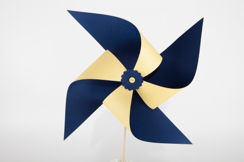 large navy and yellow pinwheel