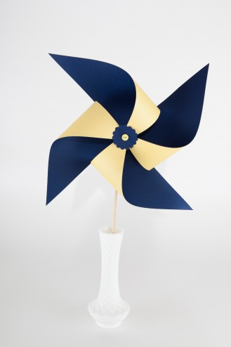 Large Navy blue and yellow pinwheel in vase