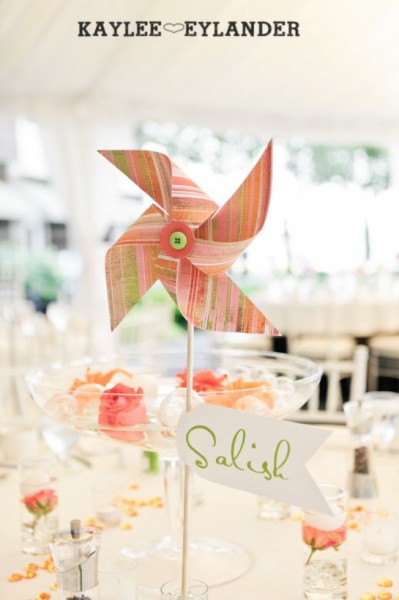 Green + Orange Pinwheel Wedding Centerpiece